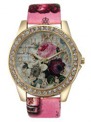 Rhinestone Faux Leather Rose Quartz Watch -