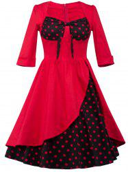 Overlay  Polka Dot Tea Length Retro Dress