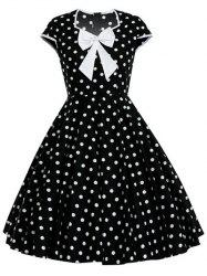 Bowknot Polka Dot Full Dress - WHITE 2XL