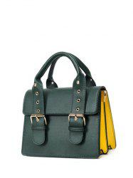Double Buckles Color Block Eyelets Crossbody Bag