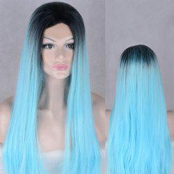 Long Colormix Natural Straight Lace Front Synthetic Wig -
