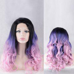 Long Shaggy Colormix Wavy Lace Front Synthetic Wig -