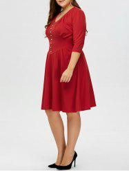 Plus Size Vintage V Neck Button Design Dress