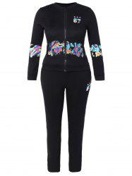 Printed Jacket and Pocket Design Pants Twinset - BLACK 3XL