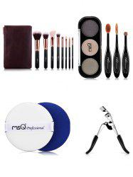 8 pcs Makeup Brushes Kit + Eyeshadow Kit + Eyelash Curler + BB Cream Puff -