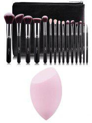 15 pcs Makeup Brushes Kit and Makeup Sponge