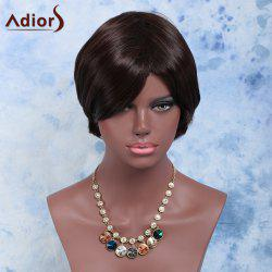 Double Color Short Side Bang Straight Synthetic Wig - BLACK/BROWN