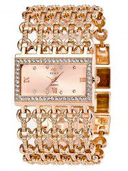 Rhinestone Roman Numerals Geometric Bracelet Watch - ROSE GOLD