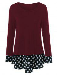 Plus Size Polka Dot Trim Flounced T-Shirt