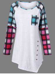Raglan Sleeve Plaid Plus Size Tee - WHITE