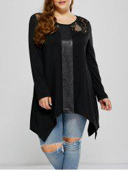 Lace Panel Asymmetrical Plus Size Tee