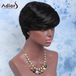 Short Full Bang Slightly Curled Synthetic Wig - BLACK