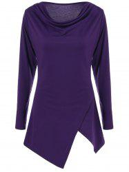 Cowl Neck Asymmetrical Fitted Long Sleeve T Shirt - PURPLE XL