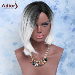 Black Mixed White Side Parting Short Straight Women's Fashion Synthetic Hair Wig