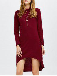Long Sleeves Turtleneck Asymmetric High Low Dress