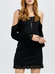 Cold Shoulder Long Sleeve Lace Trim Sheath Dress