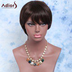 Short Side Bang Straight Synthetic Wig - BLACK