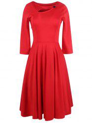 Long Sleeve Keyhole Full Dress - RED 2XL