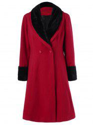 Plus Size Shawl Collar Two Tone Coat - RED