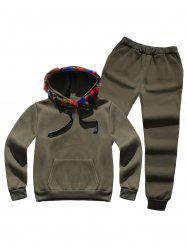 Faux Fur Pocket Hoodie with Track Pants - ARMY GREEN L
