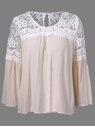 Bell Sleeve Lace Panel Flowy Blouse - PINK XL