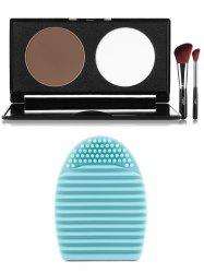 2 Colours Pressed Powder Palette with Brushes + Brush Egg -
