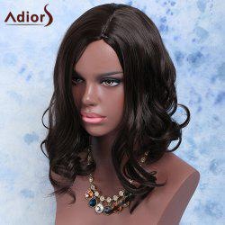 Exquisite Short Fluffy Wavy Black Side Parting Women's Synthetic Hair Wig - BLACK