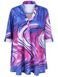 Blouse à col V en tie and dye à grande taille - Multicolore 5XL