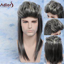 Men Mullet Hairstyle Ombre Color Cosplay Synthetic Wig - COLORMIX