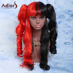 Long Full Bang with Bunches Wavy Double Color Cosplay Synthetic Wig