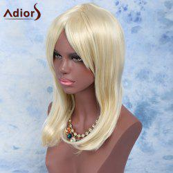 Long Oblique Bang Straight High Temperature Fiber Wig - LIGHT GOLD