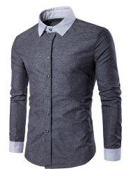 Contrast Collar Back Pleat Button Down Shirt - GRAY L