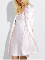 Cami Embroidered Babydoll and Fitting Wrap Robe - PEARL PINK