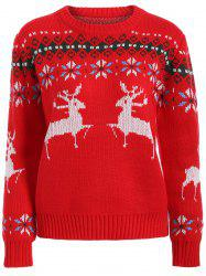 Fawn Graphic Christmas Textured Sweater -