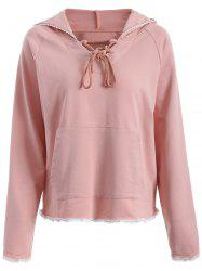 Lace-Up Lace Hem Drawstring Hoodie
