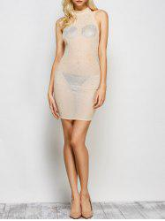 Semi Sheer Rhinestone Embellished Backless Club Dress