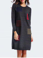 Patchy Slit Slouchy Jumper Dress - PURPLISH BLUE