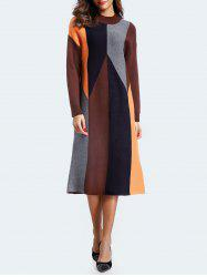 Color Block Mock Neck Midi Dress