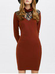 Cowl Neck Long Sleeve Fitted Dress -