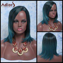 Medium Side Parting Silky Straight Colormix Synthetic Wig