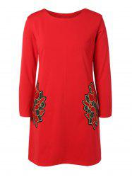 Plus Size Embroidered Long Sleeve Dress -