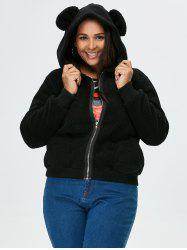 Plus Size Hooded Zip Coat -