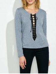 Long Sleeves Criss-Cross T-Shirt -