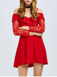 Cold Shoulder Ruffled Lace Party Skater Dress