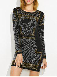 Embellished Mini Long Sleeve Dress -