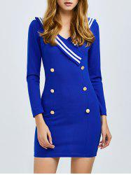 Double Button Panel Mini Sheath Dress
