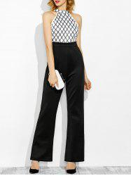 High Waisted Embellished Wide Leg Jumpsuit - BLACK