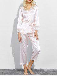 Lace Panel Satin Capri Pajamas Set - SHALLOW PINK