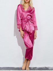 Lace Panel Satin Capri Pajamas Set
