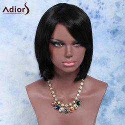 Short Side Bang Straight Bob Synthetic Wig - BLACK